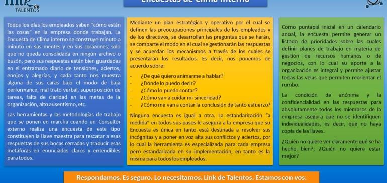 Encuestas de Clima Interno.