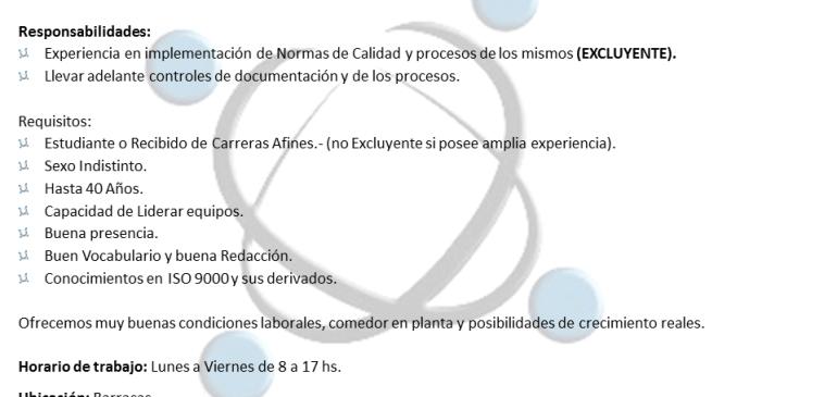 Administrativo de Calidad Senior para importante Empresa Industrial.