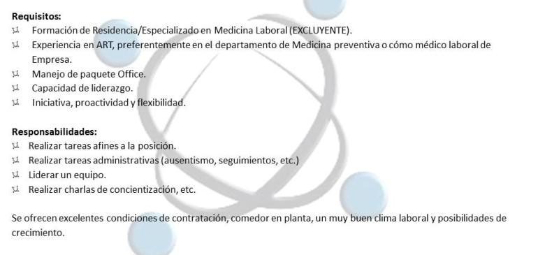 Jefe Médico Laboral para importante Laboratorio.